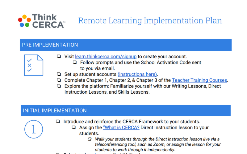 remote learning implementation checklist