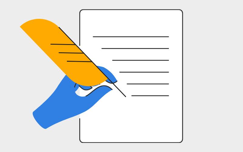 writing instruction illustration