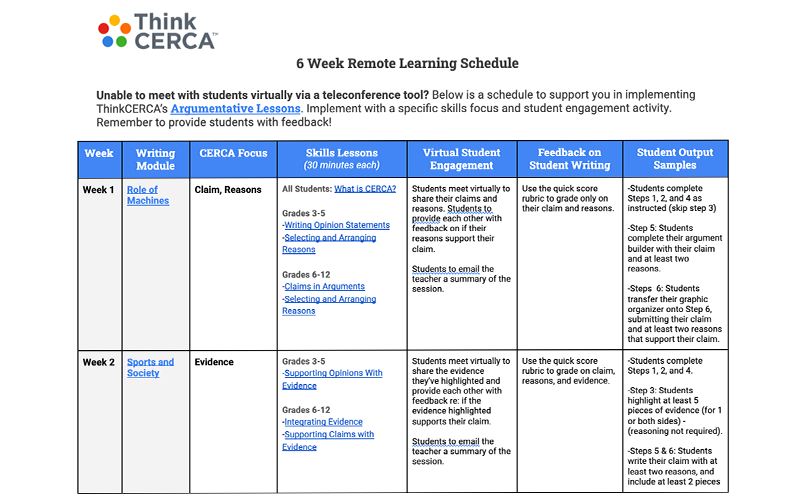 6-week remote learning schedule